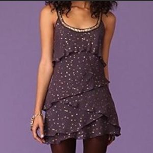 Free People Moonlight Tiered Dress Purple/Gold 0